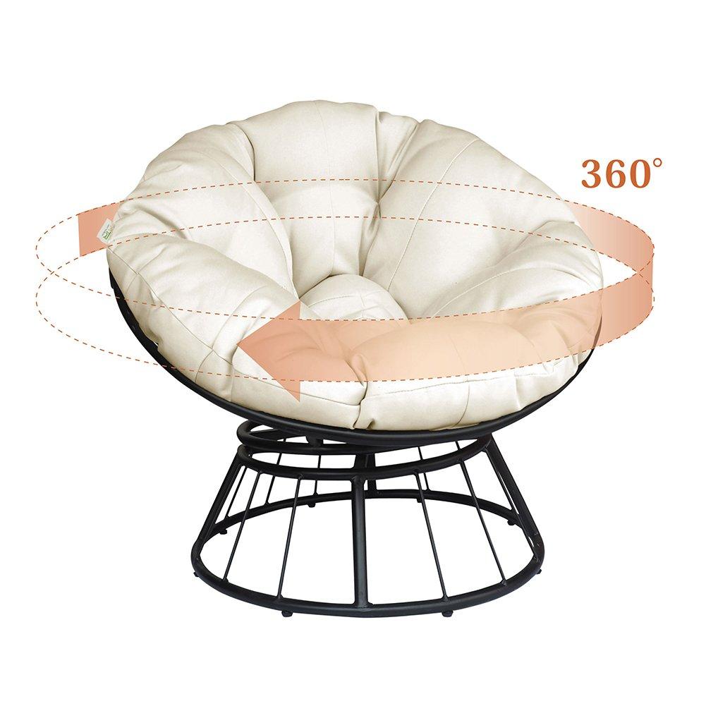 Deep Assise Chaise de Lune Solide Tissu serg/é Orange Coussin ATR Deluxe rotative /à 360//° Papasan Chaise avec Coussin Moelleux ext/érieur Patio pivotant Planeur /à Bascule Fauteuil Lounge Beige
