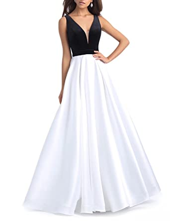 Womens V Neck Satin Prom Dresses Long A Line Velvet Evening Gowns Black White US2