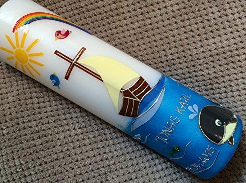 handgearbeitete Wachsverzierungen Taufkerze mit Arche // Boot mit Wal // Mit Jesus in einem Boot Beschriftung von Babyprince inkl keine Folie !!! !!