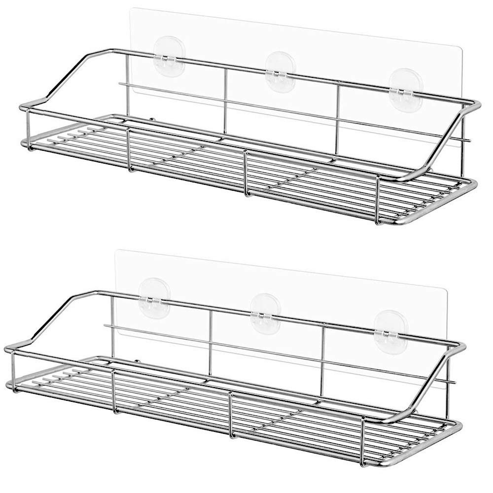 Adhesive Bathroom Shelf Organizer Shower Caddy Kitchen Storage Rack Wall Mounted No Drilling SUS304 Stainless Steel - 2 PACK