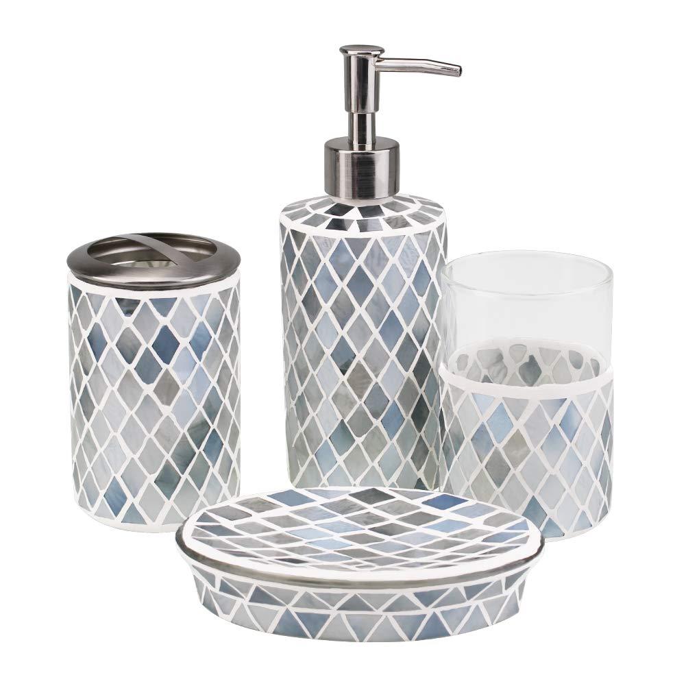 4-Piece Housewares Glass Mosaic Bathroom Accessories Set, Durable Bath Organizer Includes Soap Dispenser Pump, Toothbrush Holder, Tumbler, Soap Dish Sanitary, High Class Home Decor Gift (Green)