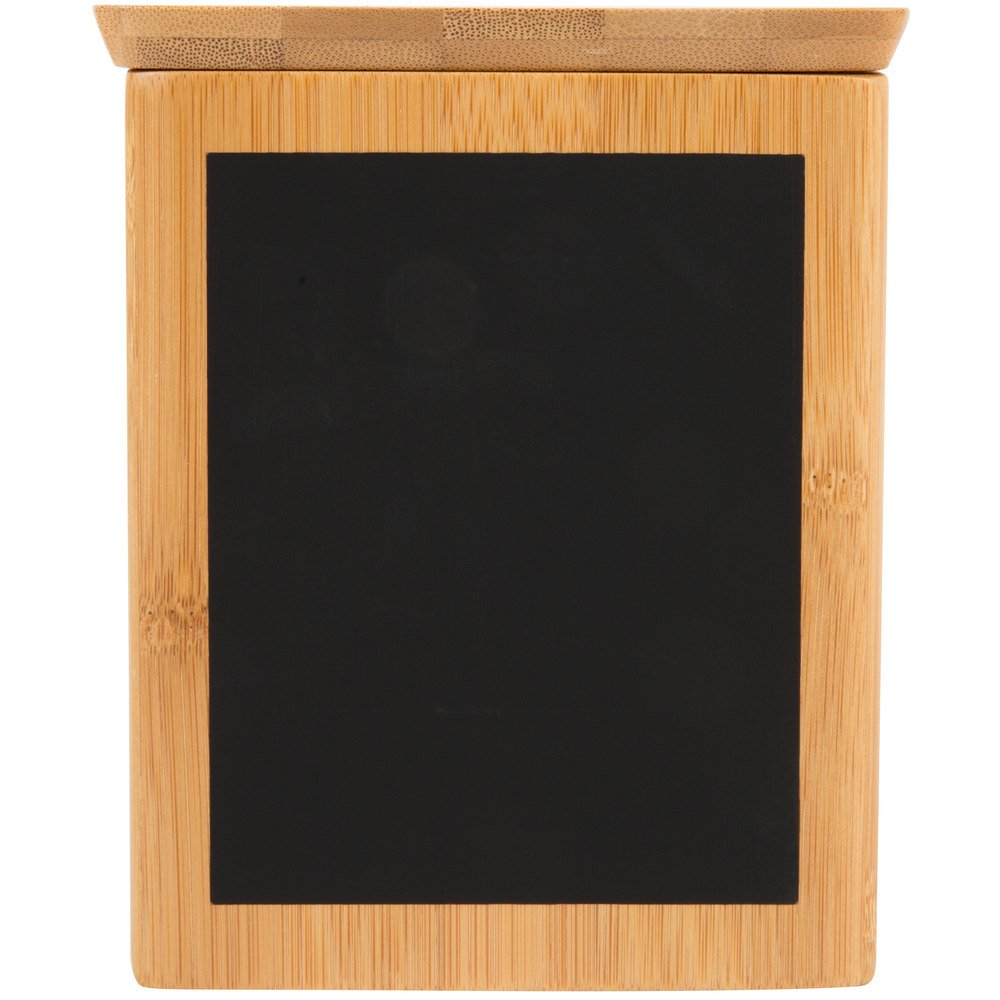 Tablecraft RCBS445 Write-On 4'' x 4'' x 5 1/2'' Bamboo Square Polypropylene Lined Storage Container with Chalkboard Pack of 18 by TableTop King