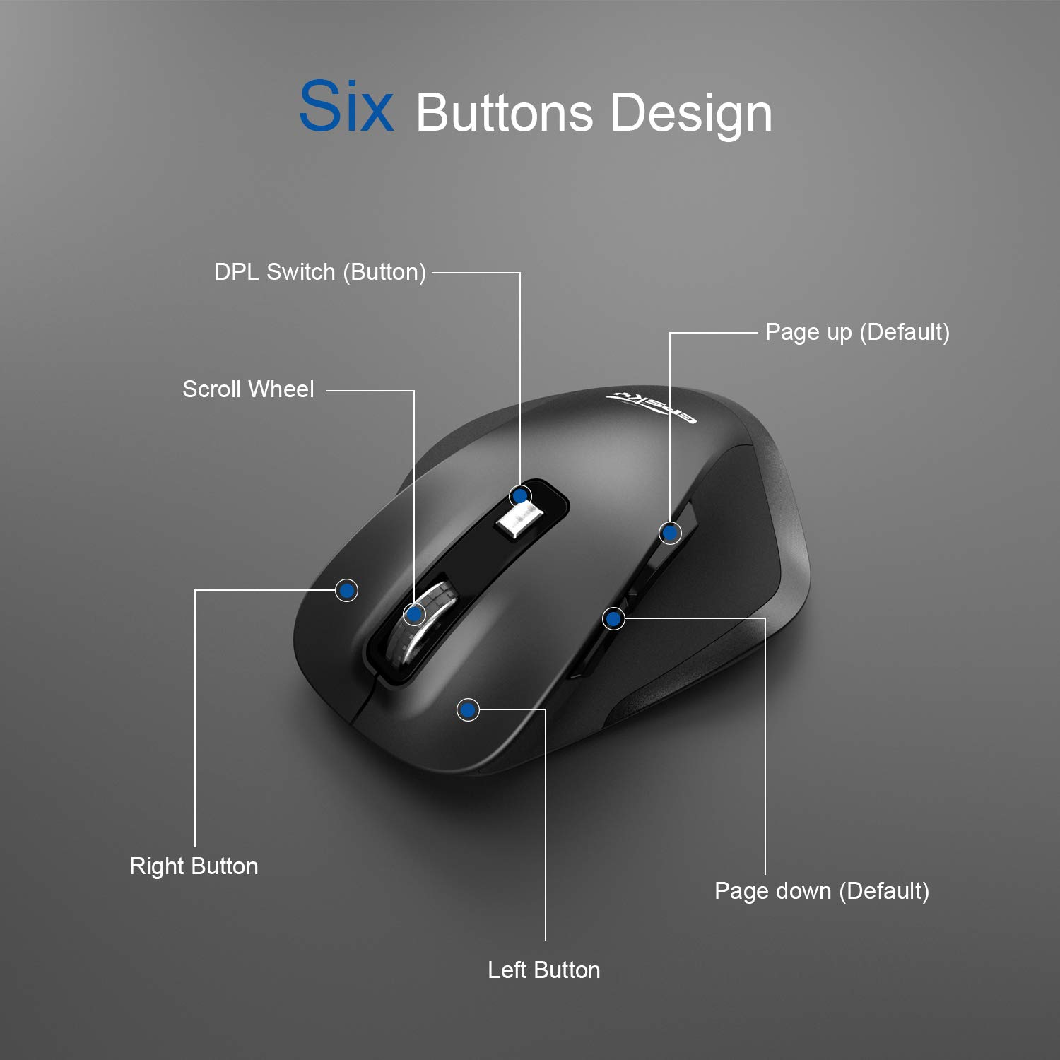 EPSKY 5 Adjustable DPI Levels, 6 Buttons 2.4G Wireless Mouse Portable Mobile Optical Mouse with USB Receiver, Orange