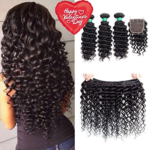 MQYQ Hair Brazilian Deep Wave 3 Bundles with Closure Unprocessed Virgin Hair with 4