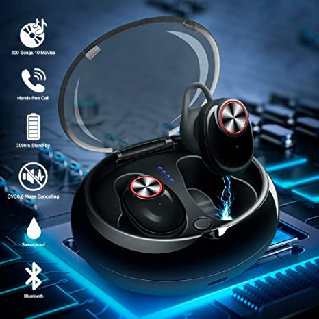 Auriculares Bluetooth, V5.0 Auriculares Inalámbricos Deportivos, TWS Mini Auriculares Estéreo In-