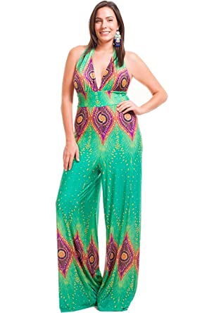 0a268bac484 Nyteez Women s Plus Size V-Neck Halter Jumpsuit Peacock - Green ...