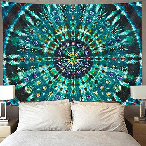 HOMESTORES Spiral Tie Dye Mandala Green Wall Tapestry Hippie Art Tapestry Wall Hanging Home Decor Extra large tablecloths 60x90 inches For Bedroom Living Room Dorm Room - Tie Dye Zebra