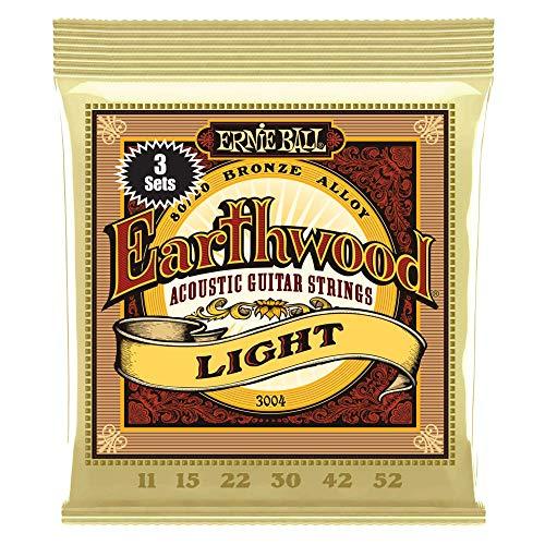 Ernie Ball Earthwood Light 80/20 Bronze Sets, .011 - .052 (3 Pack) (String Ernie Ball)