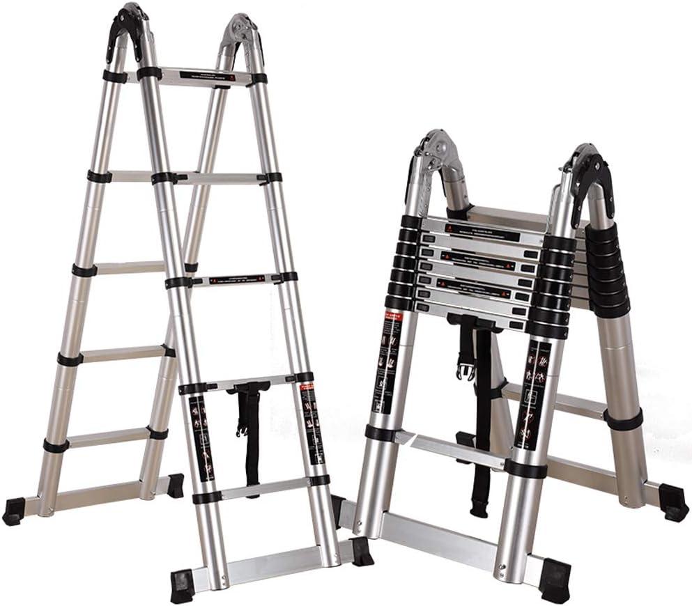 Escalera plegable de aluminio grueso multifuncional escaleras de subida ascensores telescópicos escalera de hogar escalar la escalera de ingeniería escalera de lado portátil barra de equilibrio con ruedas auxiliares aumentar Jiaotao: Amazon.es: