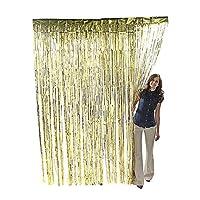 Super Z Outlet 3.2 ft x 9.8 ft Metals Tinsel Foil Fringe cortinas para la fiesta de fondo Foto Decoración de la boda (Oro)