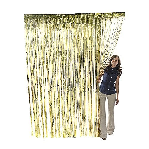 Metallic Gold Foil Fringe Shiny Curtains for Party, Prom, Birthday, Event Decorations 3 foot x 8 foot (1 Curtain)]()