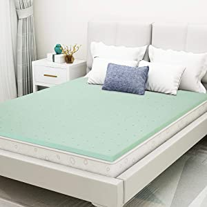 Mattress Topper, 1.5 Inch California King Size Green Tea Memory Foam Mattress Topper,Ventilated Design, Cooling Gel Infused