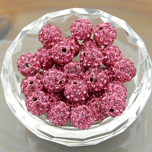 AD Beads 50pcs Quality Czech Crystal Rhinestones Pave Clay Disco Ball Spacer Beads 10mm (10 Rose Pink) -
