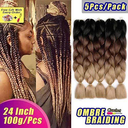 (AIDUSA Ombre Braiding Hair 5pcs Synthetic Braids Hair 24 Inch 3 Tone Ombre Braiding Crochet Braids Hair Extensions 100g (#53 Black to Brown to)
