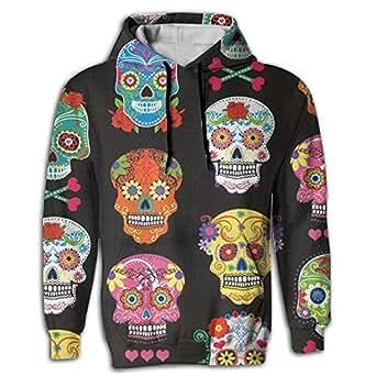 Llblk Men's Hoodie Best Tops Shirt Coat Kangaroo Pocket Sugar Skull Funny Young and Reckless