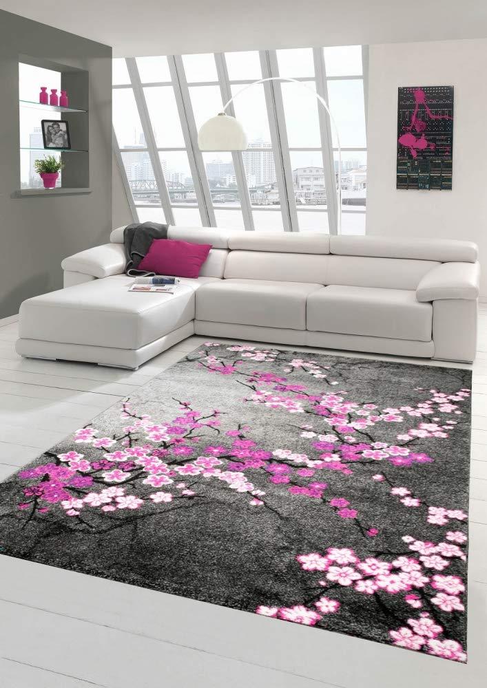 Designer Teppich Moderner Teppich Wohnzimmer Teppich Blumenmuster Grau Lila Pink Weiss Rosa Größe 120x170 cm