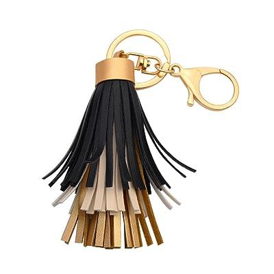 Doitsa 1PCS Porte-clés à franges en cuir Pendentif décoratif multi-gland en alliage Porte-clés décoration Pendentif sac féminin (Noir)