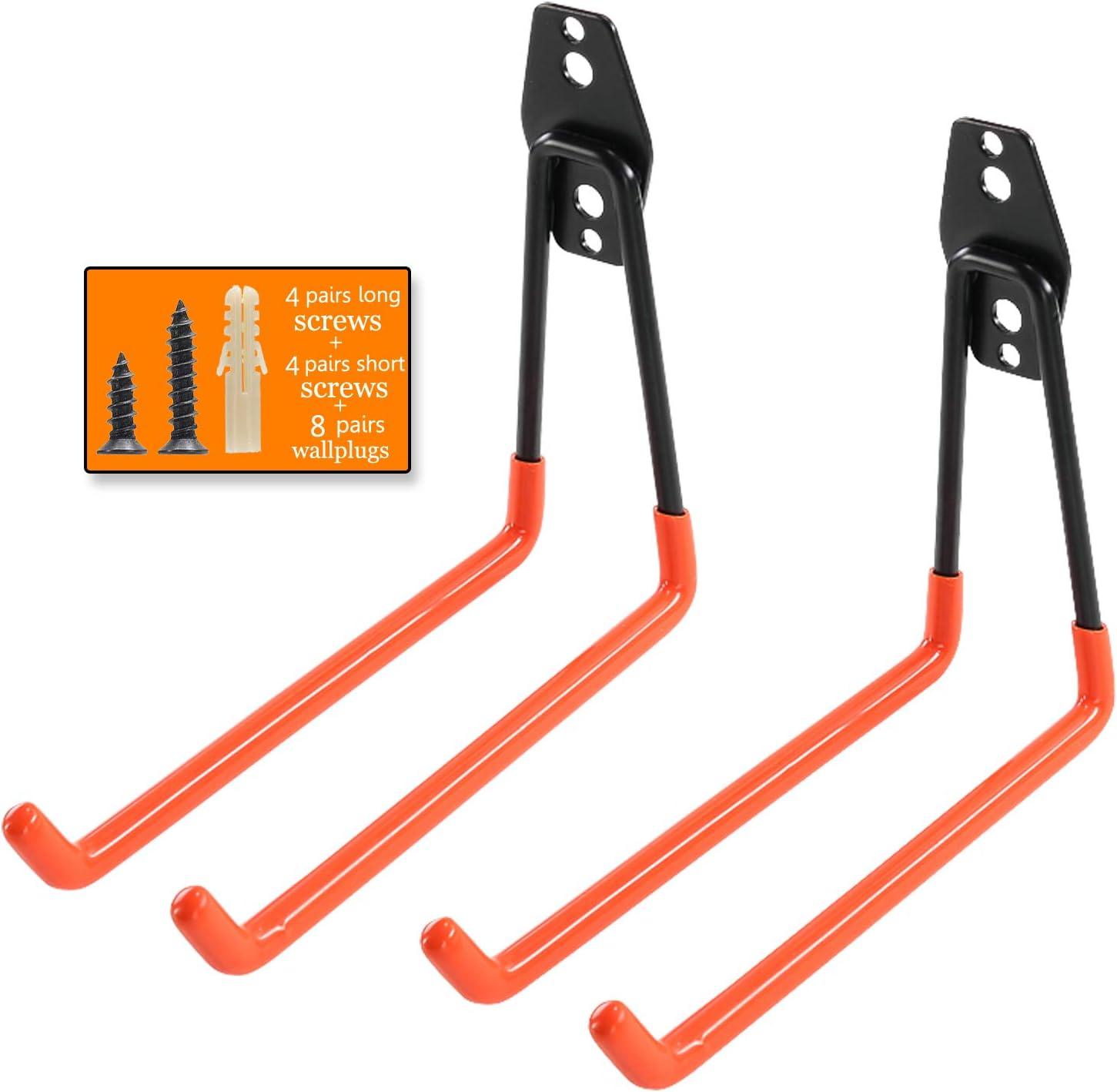 color negro 6 unidades ganchos para colgar en garaje de almacenamiento para escaleras bicicletas y herramientas organizador de pared Ganchos de garaje y colgadores de alta resistencia