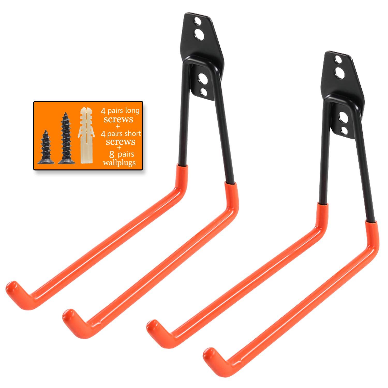 Heavy Duty Garage Storage Utility Hooks for Ladders & Tools, Wall Mount Garage Hanger & Organizer - Tool Holder U Hook with Anti-Slip Coating (2 Pack - Orange)
