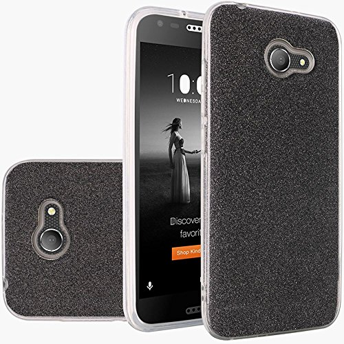 For ALCATEL ZIP Case, ALCATEL KORA Case, Phonelicious [Slim Fit] [Lightweight] [Shock Proof] Hybrid Hard Protector Cover TPU w/Screen Protector & Stylus (SMOKE GLITTER)