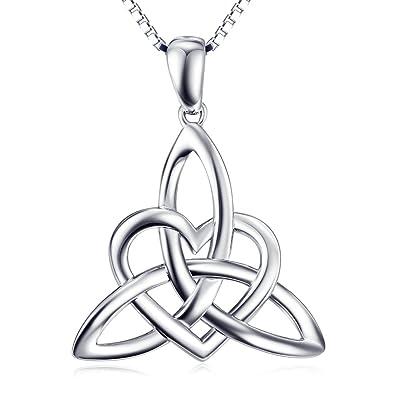 Sterling Silver Irish Celtic Knot Triangle Love Heart Pendant