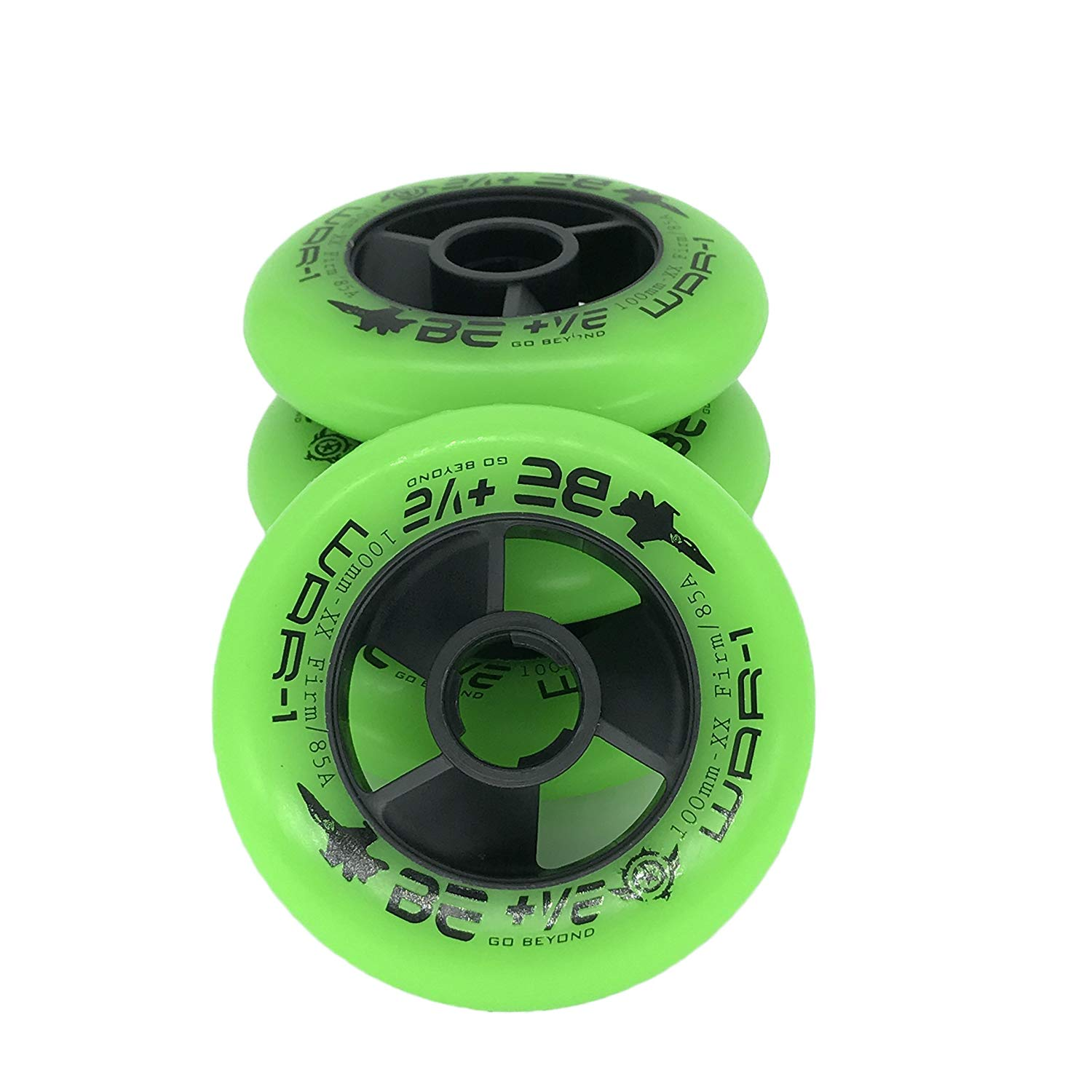 JieKeHaiDao 85A PU Inline Speed Skate Wheels Without Bearings (Pack of 4) Size 110mm and 100mm and 90mm for Choose (Green, 100mm)