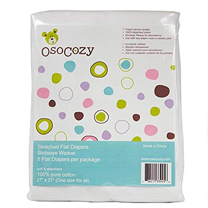 - 27 x 30.5 Dozen Durable 100/% Birdseye Cotton Unbleached Birdseye Flat Diapers One-Layer Flat OsoCozy Cloth Baby Nappies Made Of Soft