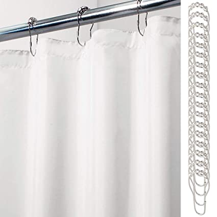 MDesign Extra Wide Water Repellent Mildew Resistant Heavy Duty Flat Weave Fabric Shower Curtain