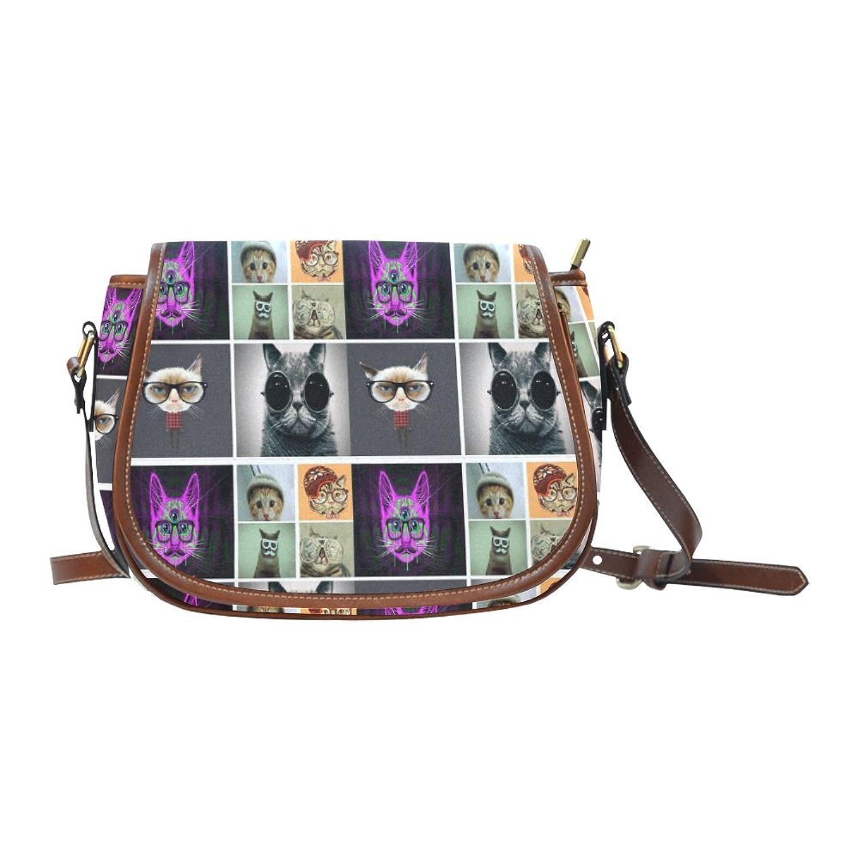 InterestPrint Custom Hipster Cat Saddle Bag/Shoulder Bag/for Women Girls