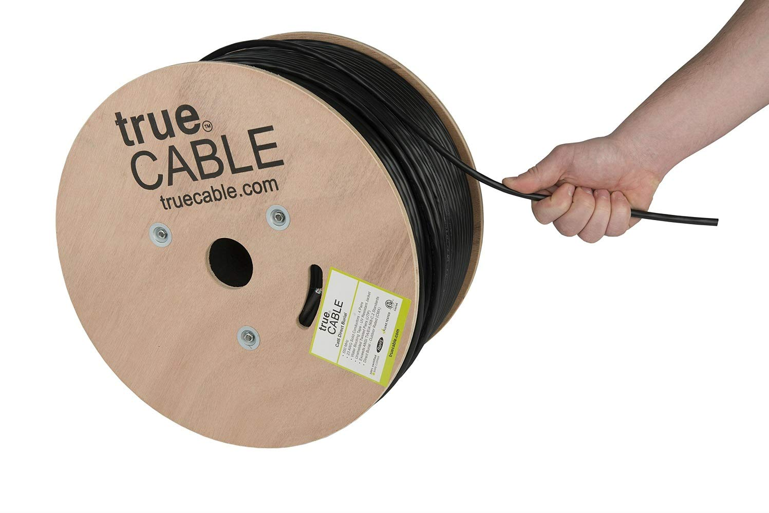 Cat6 Outdoor, 500ft, Waterproof, Direct Burial Rated CMX, 23AWG Solid Bare Copper, 550MHz, ETL Listed, Unshielded UTP, Bulk Ethernet Cable, trueCABLE