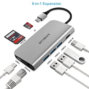 LOBKIN Hub USB-C 8 en 1 con Carga PD, Fabricado en Aluminio, Puerto ethernet, Salida HDMI 4K, 4 USB 3.0,...