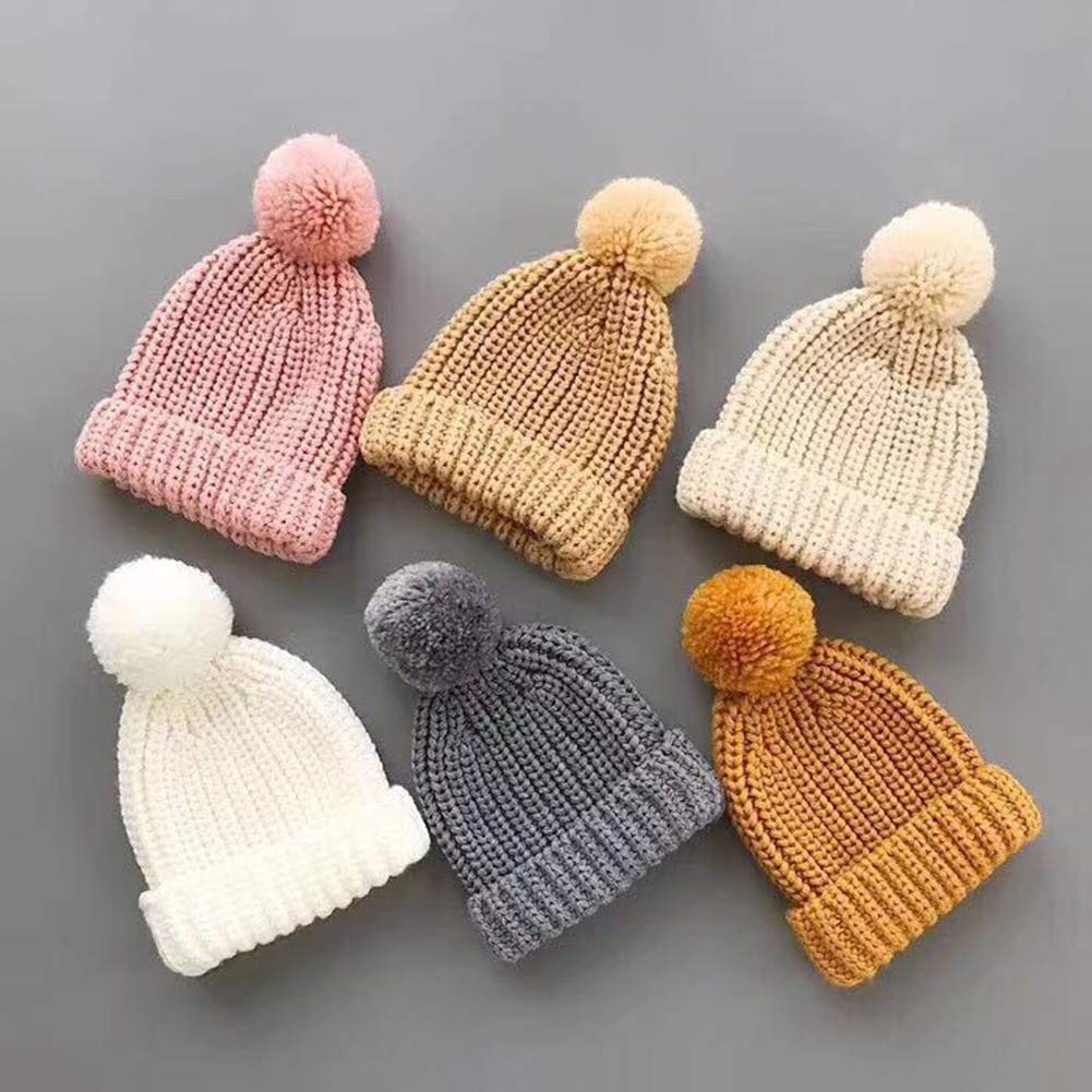ShiningLove Infant Baby Unisex Warm Knitting Cap Cute Plush Ball Thicken Beanie Hat