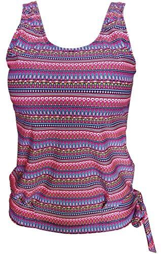 Gabrielle-Aug Women's Floral Stripe Blouson Tankini Top Swimsuit(FBA) (14, Floral Stripe2)