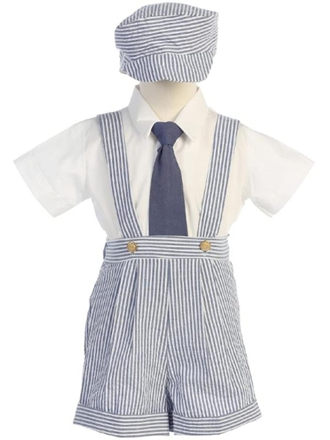 1930s Childrens Fashion: Girls, Boys, Toddler, Baby Costumes DapperLads Lito Little Boys Blue Seersucker 4 Pc Suspender Shorts $35.98 AT vintagedancer.com