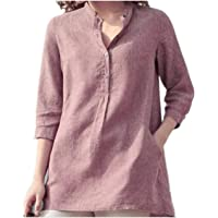 TT WARE Women 3/4 Sleeve V Neck Button Down Tops Casual Loose Shirts Blouse-Pink-14