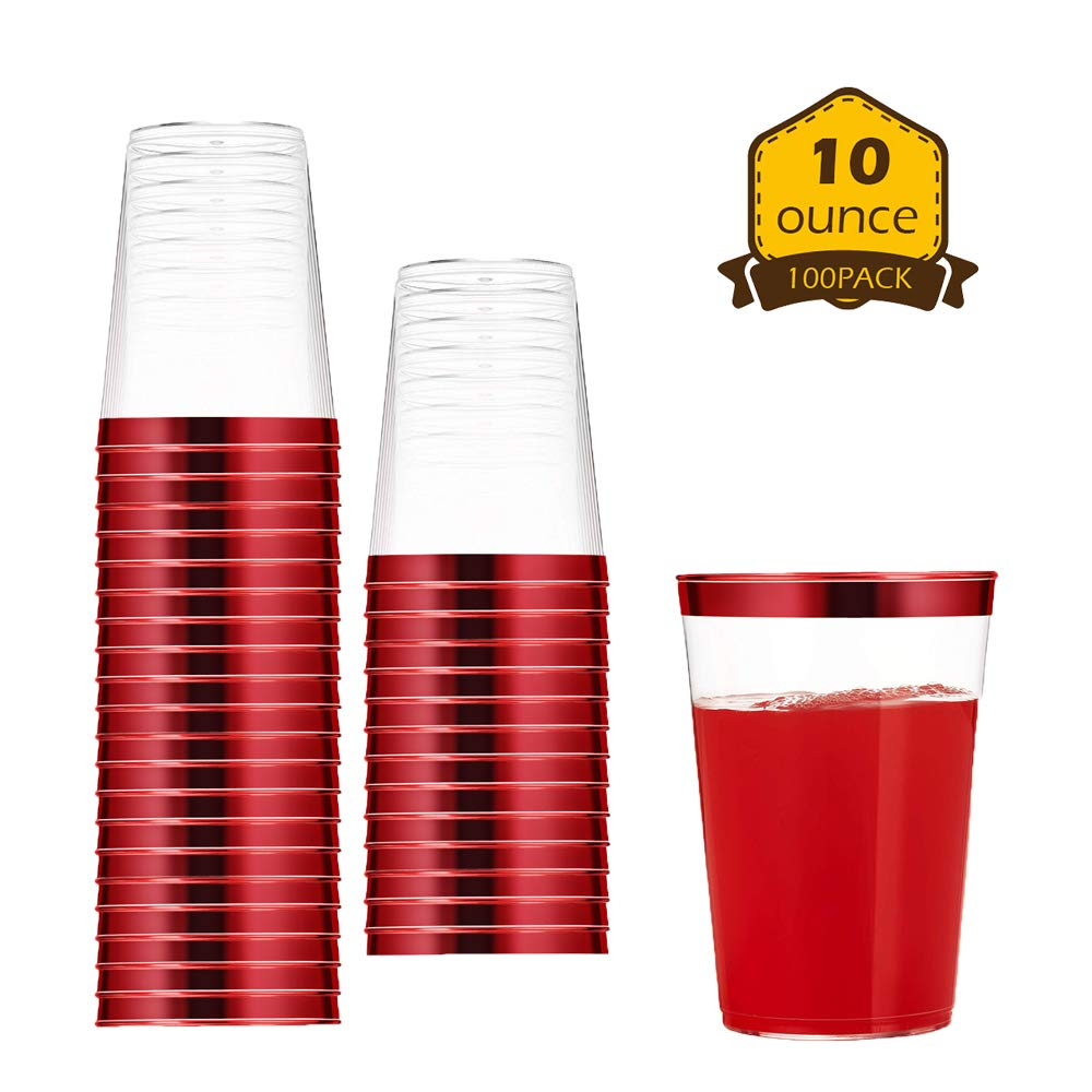 100 Count 10oz Disposable Clear Cup-Red Trim Cup/Old Fashioned Tumblers/Plastic Wedding Cups/Fancy Party Cups by AZURIWARE