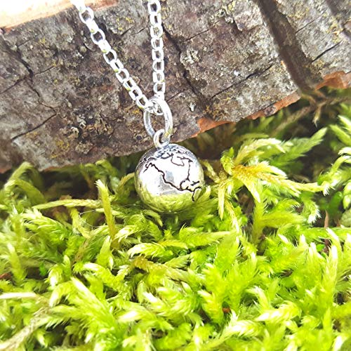- Earth Globe 3D Charm Necklace - Sterling Silver Necklace - Gift for Her
