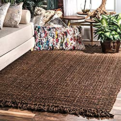 nuLOOM Natura Collection Chunky Loop Jute Casuals Natural Fibers Hand Woven Area Rug, 5' x 8'