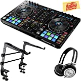 Pioneer DDJ-RR Portable 2-Channel Controller Bundle with Stand, Headphones, Polishing Cloth