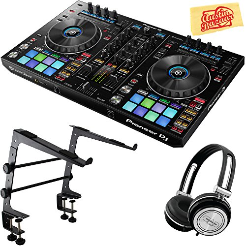 Pioneer DDJ-RR Portable 2-Channel Controller for Rekordbox DJ Bundle with Stand, Headphones, and Austin Bazaar Polishing Cloth
