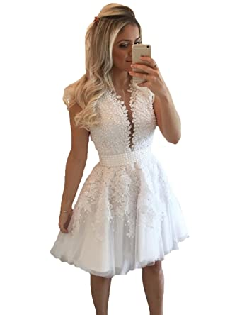 Stillluxury Juniors Homecoming Dresses Tulle Lace Peals Short Prom Dress Women White Size 6