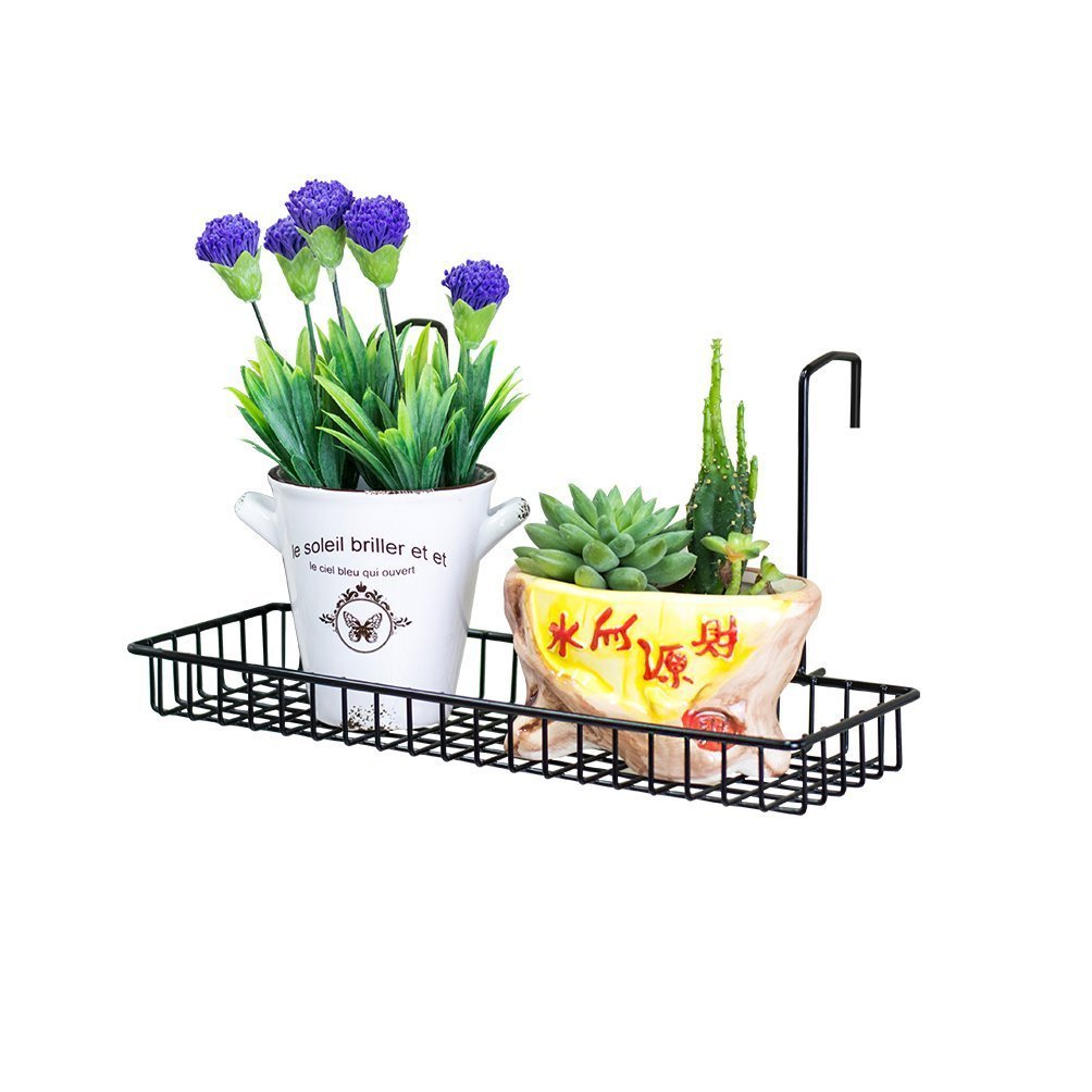 Chris Wang Iron Wire Outdoor Rectangle Plant Caddy, Patio Fence Deck Porches Railing Shelf Flower Pots and More Holder, Space-Saving Office Cubicle Grid Works Sundries Storage Rack(Black)