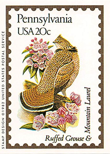 "Pennsylvania State Bird & Flower trading card (Ruffed Grouse & Mountain Laurel) 1991 Bon Air #38 ""The Keystone State"""
