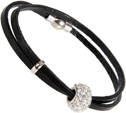 Impresionante la joyería de cuero para mujer urbana circonio cúbico pulsera del grano de 18 cm (Negro): Amazon.es: Joyería