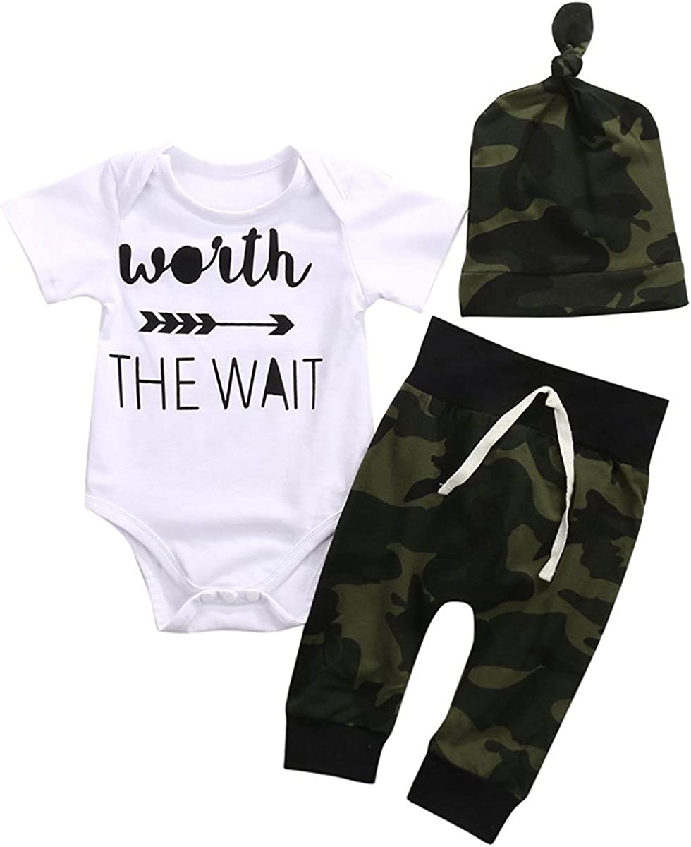 Cute 3pcs Newborn Baby Boys Letter Print Romper+Camouflage Pants+Hat Outfits Set (0-3Months, White&Camouflage)