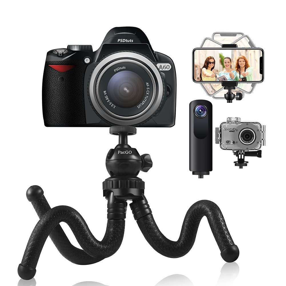 Phone Tripod,PacGo Flexible and Portable Tripod with Remote Shutter for iPhone,Android Phones,Camera and Gopro
