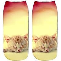 HENGSONG Women Men Socks Cute 3D Cat Printed Ankle Socks Sports Stocking
