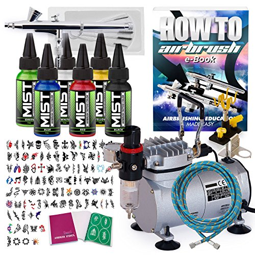 PointZero Complete Temporary Tattoo Airbrush Set – 6 Color 100 Stencil Kit