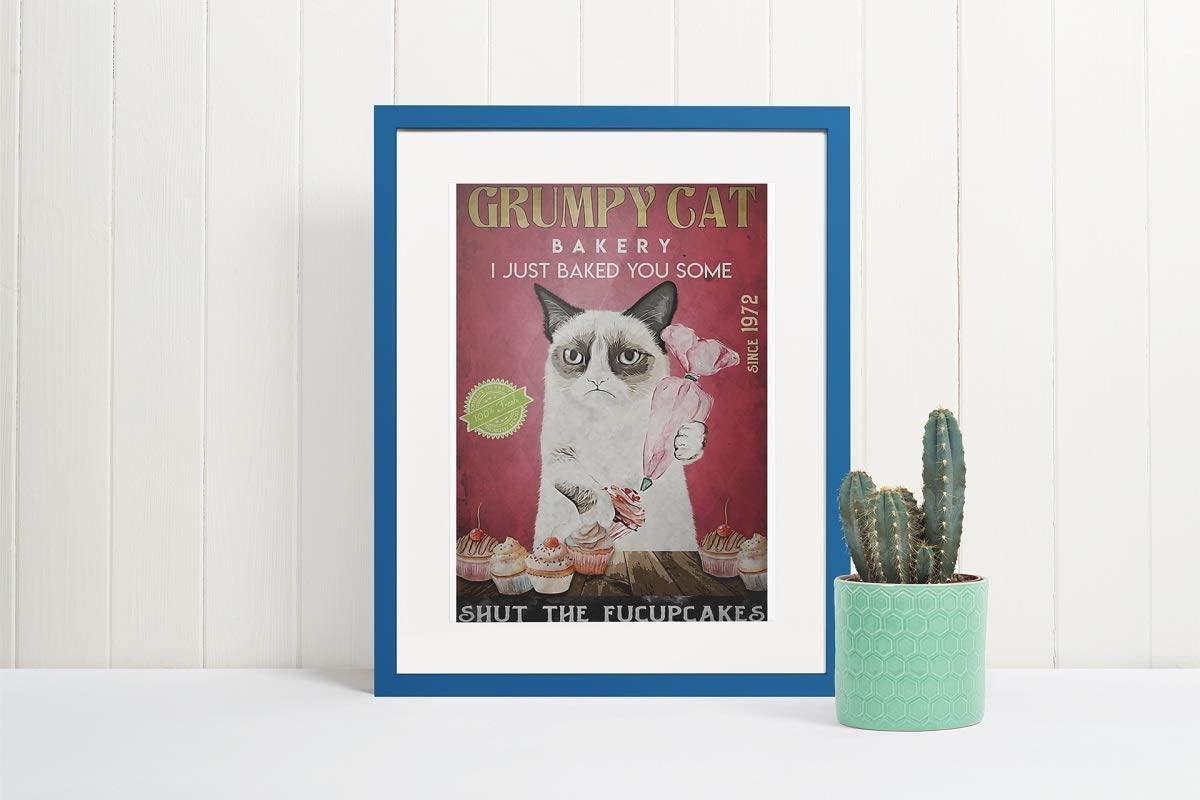 Grumpy cat bakery I just baked you some shut the fucupcakes vintage poster
