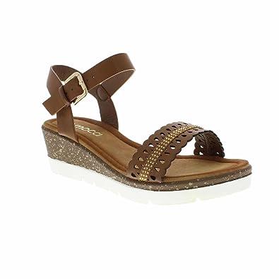 581f46f5817 Moca Low Wedge Sandal Women s Casual Faux Leather Rhinestone Laser Cut  Design Boho-16